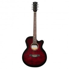 Carlos F511ce Semi-Acoustic Guitar - Shaded Red - Include Free Softcase