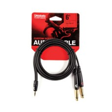 D'Addario 1/8 Inch to Dual 1/4 Inch Audio Cables - 3 Meter
