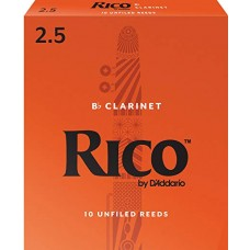 Rico by D'Addario Bb Clarinet Reeds - Strength 2,5 - Box Of 10 Pieces