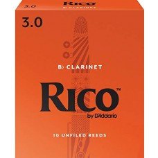 Rico by D'Addario Bb Clarinet Reeds - Strength 3 - Box Of 10 Pieces