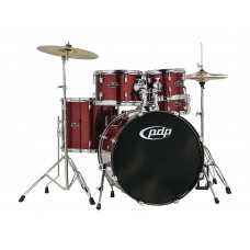 PDP Center Stage 5 Pieces Drum Set with Hardware and Cymbals - Ruby