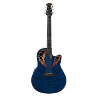 Ovation The Celebrity® Collection Celebrity Elite® Semi Acoustic Exotic Mid Depth Caribbean Blue On Exotic Quilted Maple