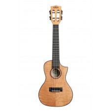 Kala Solid Flame Maple Series - Concert Ukulele - Cutaway - Natural Maple -Included Bag