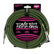 Ernie Ball P06077 Braided Straight / Angle Instrument Cable - 10' Black/Green ( 3 meters )