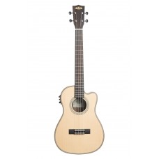 Kala Solid Spruce Top Striped Ebony Series Baritone Semi-Acoustic Ukulele - Included Bag