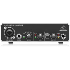 Behringer U-Phoria UMC22 USB Audio Interface with Midas Mic Preamplifier