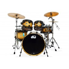 DW Drum Set Collector's Series Lacquer Cherry/Mahogany 5-piece Shell Pack - Natural To Quick Candy Black Burst Over Quilted Maple - Black Nickel Hardware ( HARDWARE AND CYMBALS NOT INCLUDED )