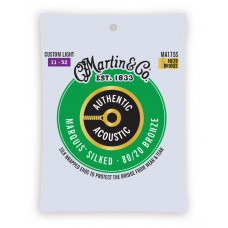 Martin Authentic Acoustic Marquis Silked Guitar Strings - 80/20 Bronze Custom Light - 011 -.052 - MA175S