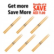 SET OF 6 - Pro Mark Drumsticks Classic 2B ActiveGrip Clear- Oval Wooden Tip